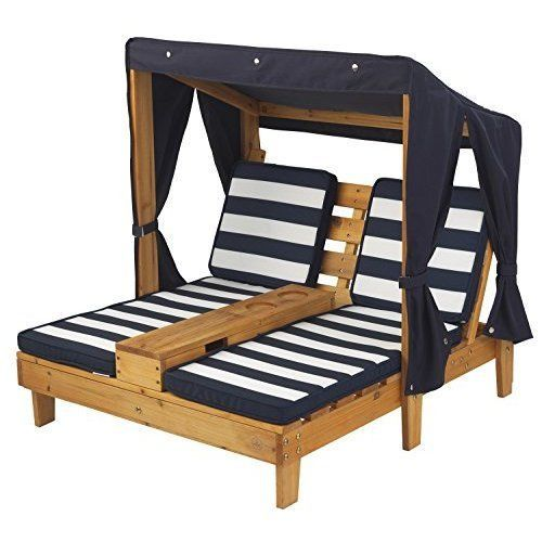Charming Kids Double Chaise Lounge Outdoor Patio Furniture Chair Pool Wooden W/  Canopy