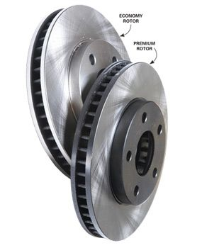 Compare the weights of these two rotors for the same vehicle. The generic rotor weighs 20 percent less than the premium brand.