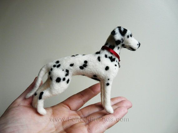 Dalmation dog soft sculpture needle felted by Bianca of www.felted-friends.com