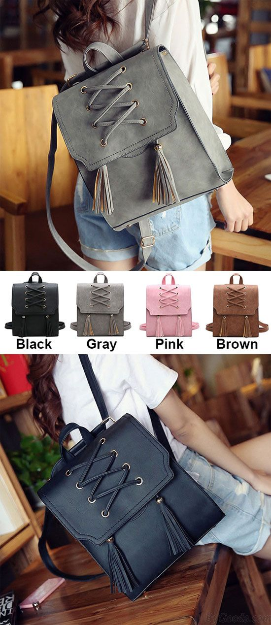 Which color do you like? Retro Girl's Cross Bandage Tassels Flap Square Brown Weave Leisure Travel Backpack #retro #weave #Leisure #square #backpack #bag #college #school #student #girl #travel #rucksack