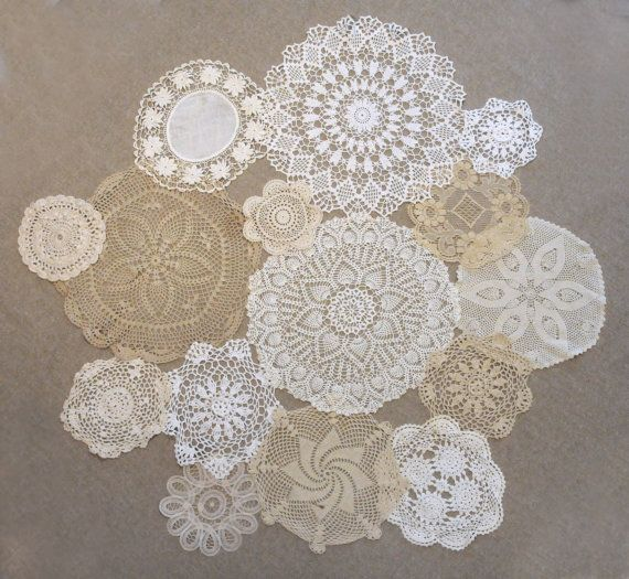 Doily collage for center of round table...