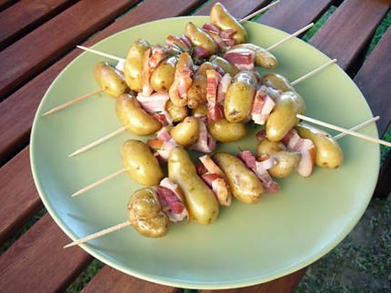 recette Brochettes de pommes de terre au lard fumé à la plancha