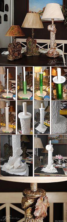 Лампа - торшер из пластиковых бутылок и гипса. Мастер-класс