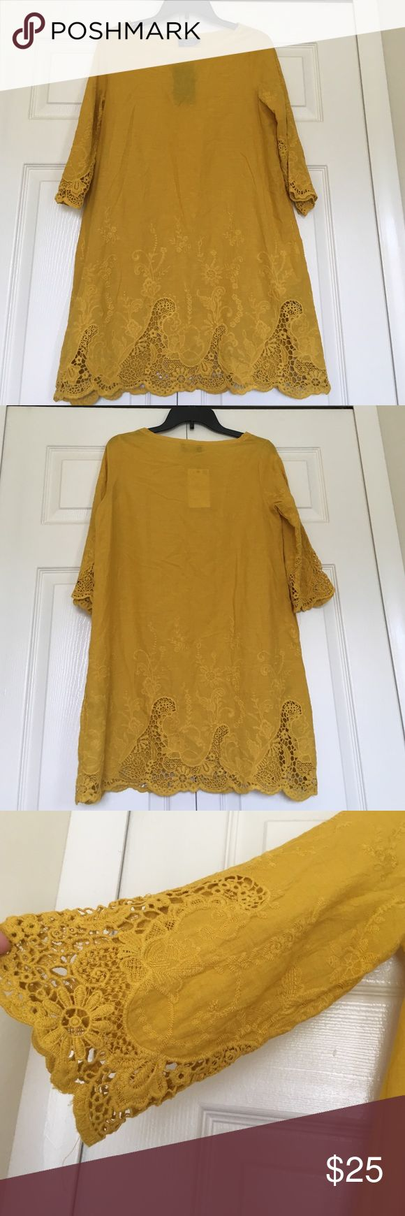 Zara Embroidered yellow beach dress Great yellow dress to wear. It is a bit see through Zara Dresses