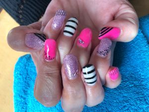 Gorgeous Pink Purple acrylics with free hand nail art