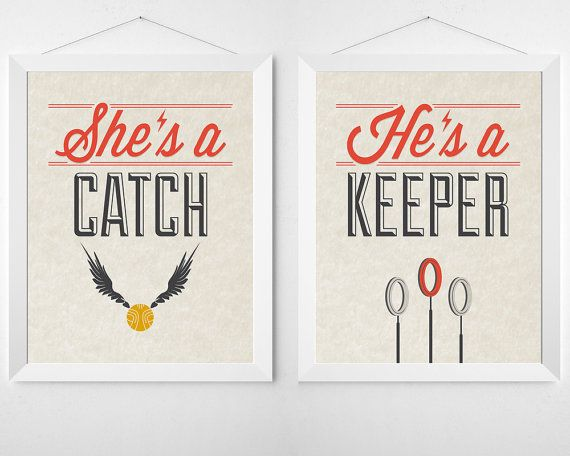 Unframed prints on high quality paper with archival fade-resistant inks.    ►Ask us about Custom Colors    Shes a Catch, Hes a Keeper! A perfect pun of