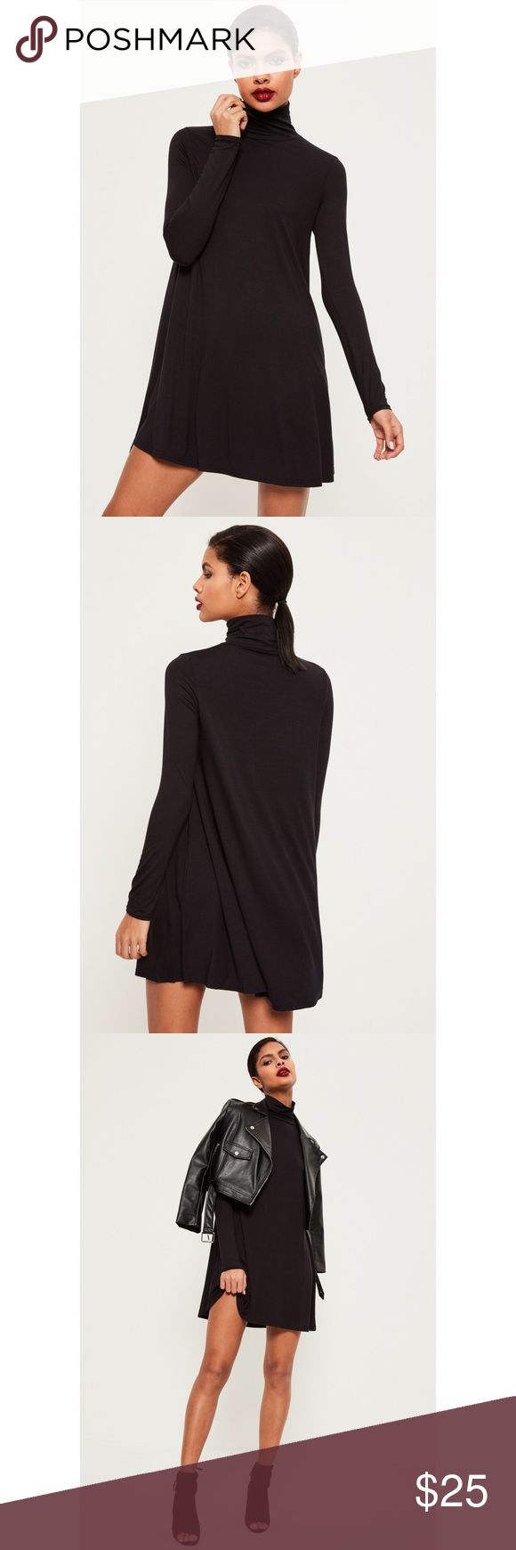 Roll neck long sleeve jersey swing dress ▪️Black swing dress ▪️Luxe long sleeves ▪️Roll neck ▪️95% viscose 5% elastane  ▪️US size 4 ▪️Please refer to Missguided size chart: https://www.missguidedus.com/size_guide/ 📷: additional photos available upon request 💵: reasonable offers will be considered Missguided Dresses