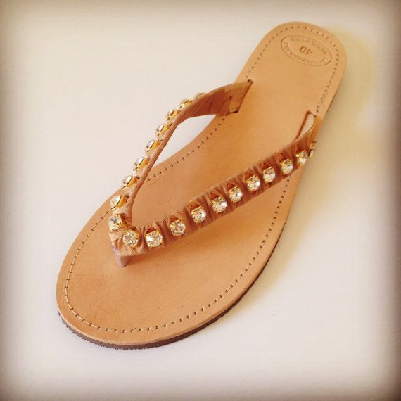 Strass leather sandals