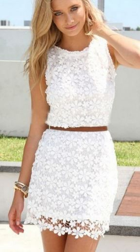 Love Love LOVE this Dress! Sweet and Sexy White Floral Hollow-out Lace Dress #Sweet #Sexy #White #Floral #Lace #Fashion #Spring #Break #Outfit #Ideas