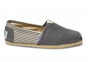 $33.00University Rope Sole Stripe Ash Mens Classics Toms Shoes [toms-136] :