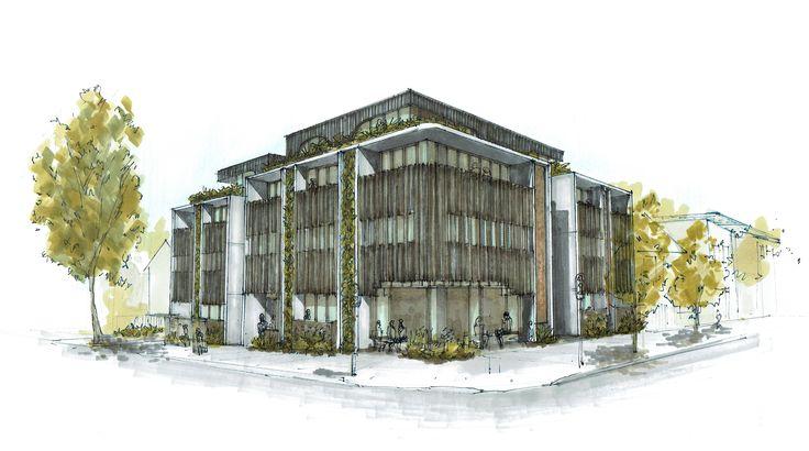 New environmentally sustainable studio apartment building in Bondi - concept sketch