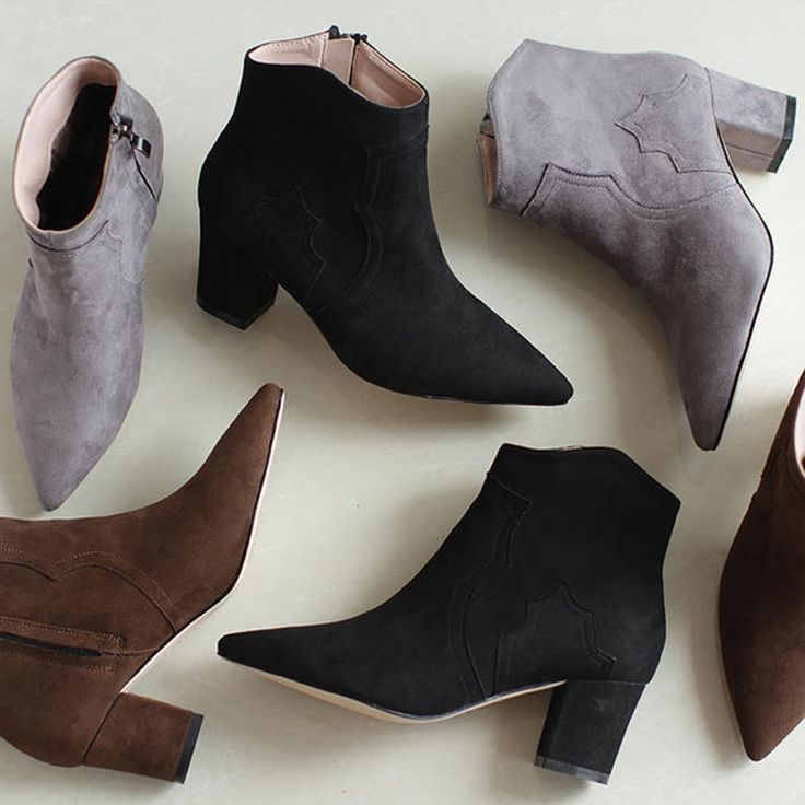 63.33$  Buy here  - Matte Business Fitness Booties Single Fashion Western Sexy Celebrity High Heels Ankle Suede Boots Pointy Goth Chunky Heel