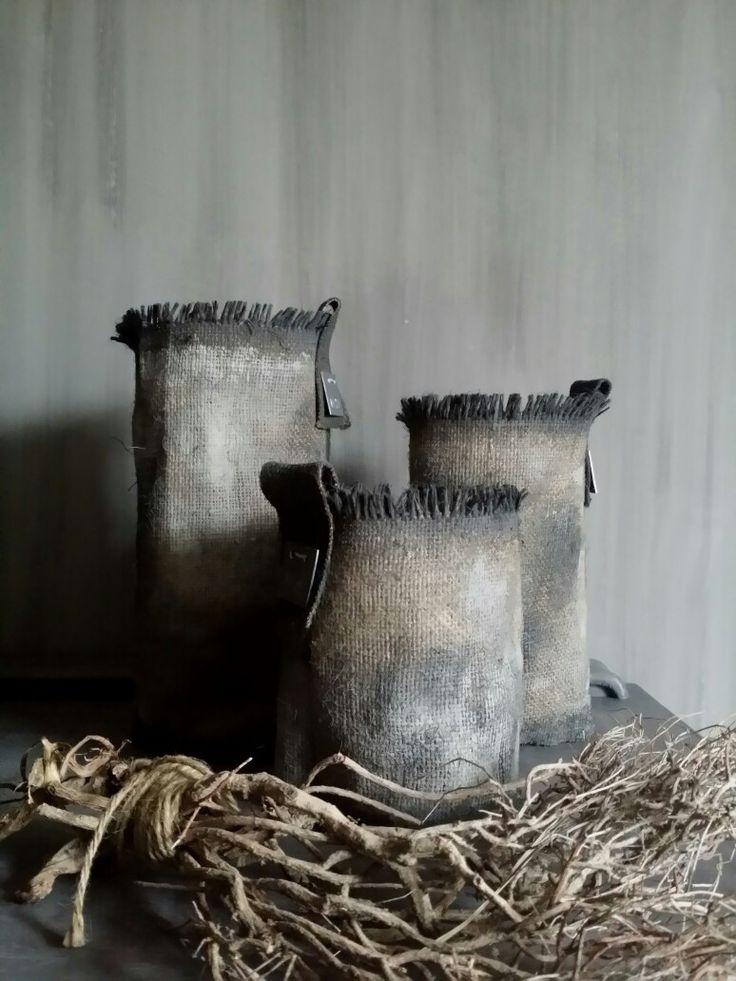 """Stoere jute windlichten made by """"de meidenmuts"""""""