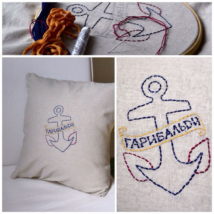 Вышивка мулине на льняной наволочке.  Да, я тоже шью по ночам наволочки на подушку, потом вышиваю...сложность стежка–1 уровень Подушка и вышивка гарибальди Cushion with embroidery garibaldi #подушка #вышивка #garibaldi #гарибальди #cushion #embroidery