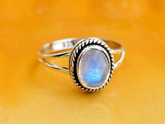 Rainbow Moonstone ring moon stone silver ring door silvershop925