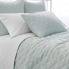 Pine Cone Hill Quilted Silken Robin's Egg Blue Coverlet Ships Free