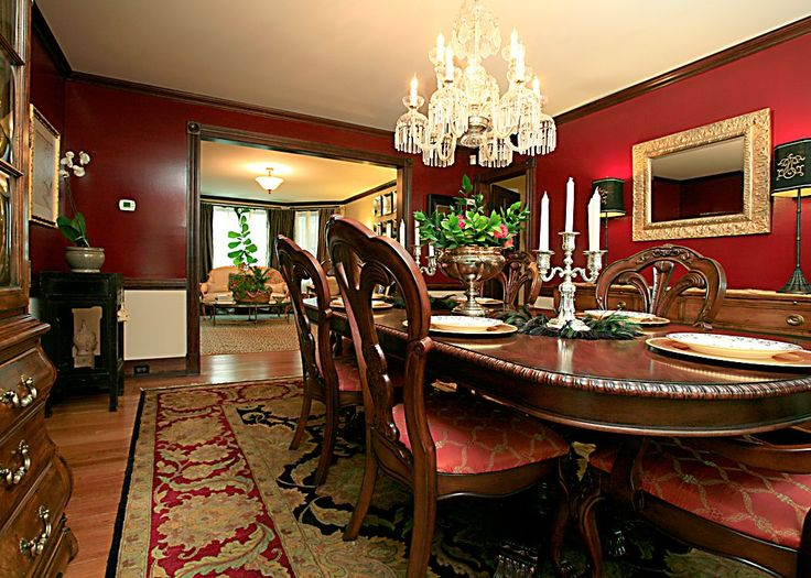 Extraordinary Dramatic Dining Room Design : Classic Dining Room Design With  Chandelier Wooden Furniture Dining Table Chair Sofa Cupboard Cabinet Candle  ...