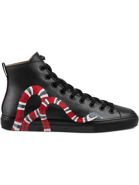 3c4fb5c23c94c GUCCI Leather high-top with snake.  gucci  shoes     Gucci Men ...