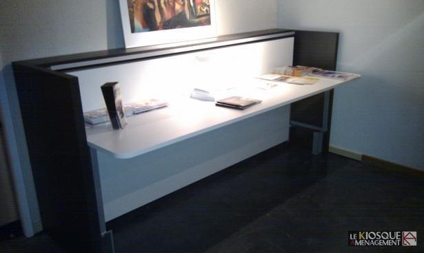 Lit escamotable avec bureau relevable lits escamotables for Lit escamotable bureau integre