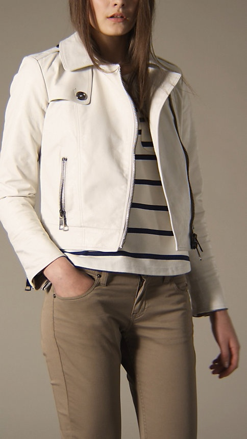 white leather burberry jacket. 100% added to wishlist.