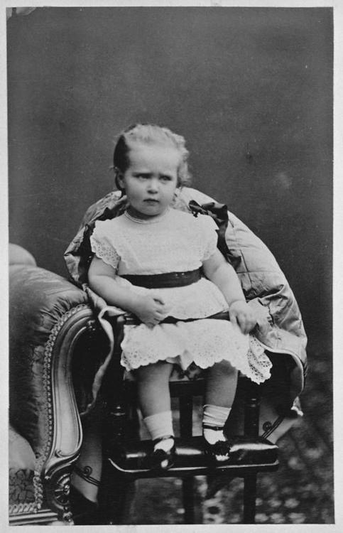 Alix of Hesse, granddaughter of Queen Victoria, who grew up to be Tsarina Alexandra Feodrovna of Russia.