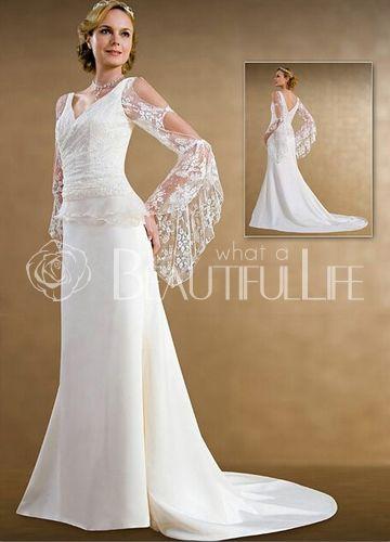 $173.49  Sweep Train Satin Lace Natural Waist V-neck Long Sleeves Bridal Dress  #V-neck #wedding #dresses