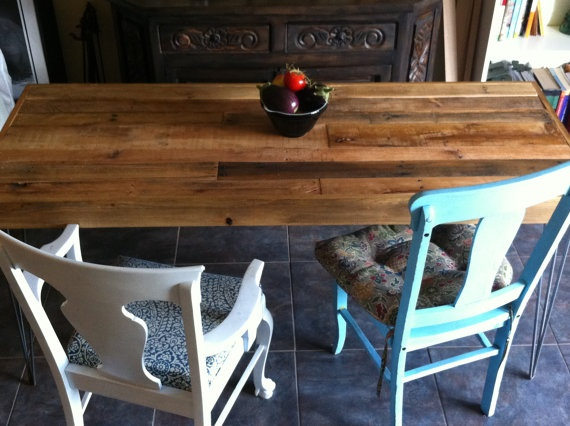 Reclaimed Barnwood Dining table kitchen coffee by triple7recycled, $535.00