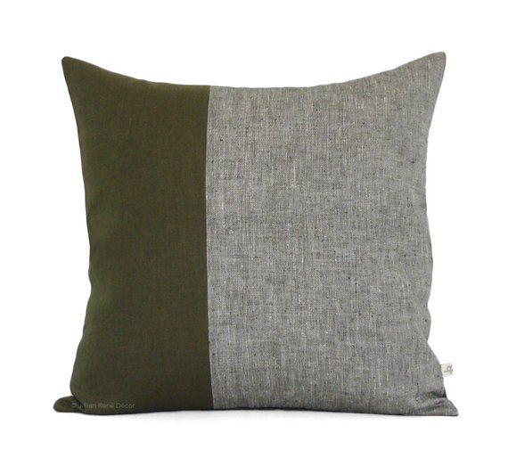 Olive Chambray Colorblock Pillow Cover 20x20 Modern
