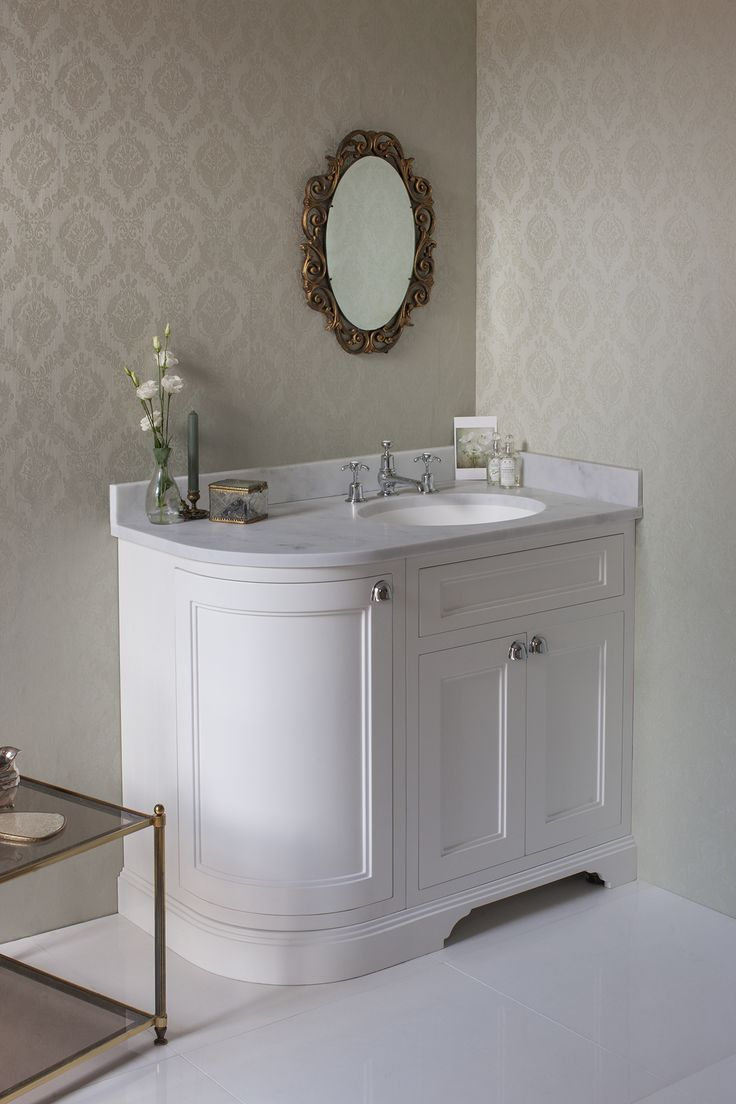 The Burlington Matt White Curved Vanity Unit With Doors Worktop Basin Right Hand Makes Perfect Option For Corner Installation And Features A