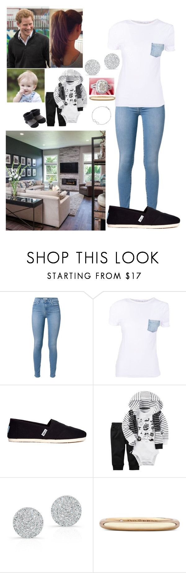 """Family spending day home"" by royal-431 ❤ liked on Polyvore featuring 7 For All Mankind, Helmut Lang, TOMS, Carter's, Anne Sisteron, De Beers and Roberto Coin"