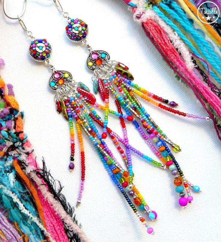 Bohemian Dream ° Boucles d'oreilles uniques bohème gipsy multicolore rocailles cristal fait main Tikaille .. : Boucles d'oreille par tikaille