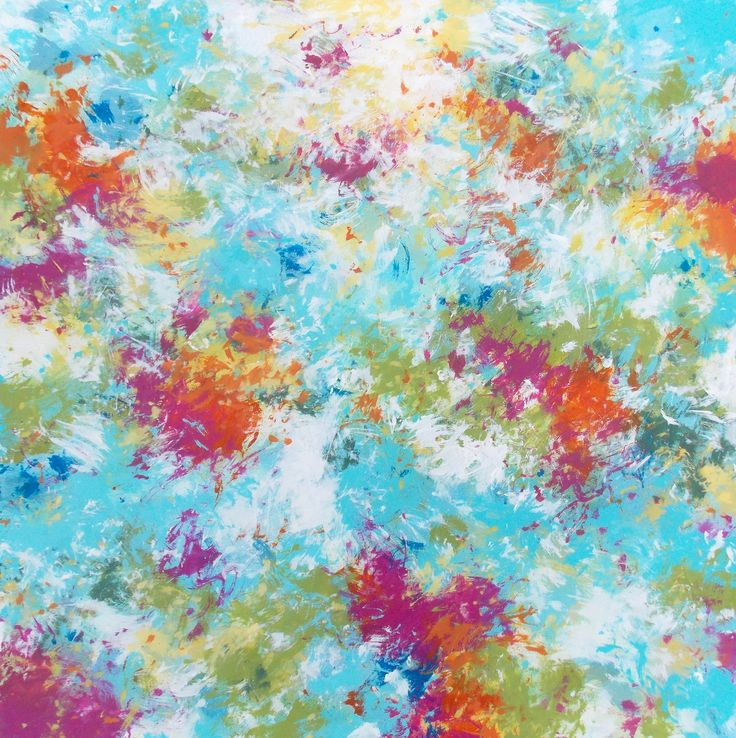 """Spring Serenade II by Jessica Torrant, 2017. Acrylic on 24"""" x 24"""" canvas. One of three abstract paintings featuring Pantone Spring 2017 colors."""