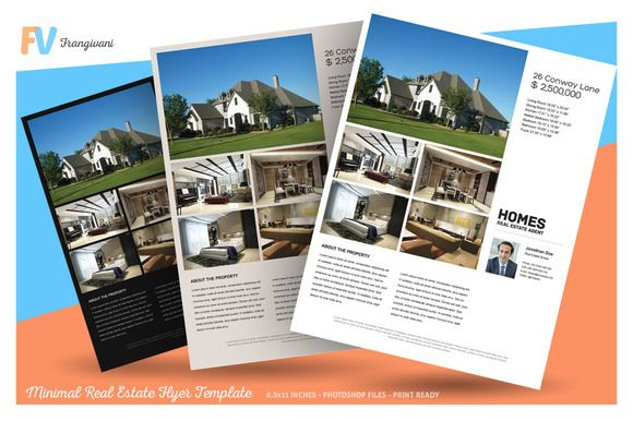 Minimal Real Estate Flyer Template by frangivani on @creativemarket