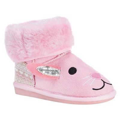 Toddler Girls' Muk Luks Bonnie Pink Bunny Shearling Style Boots - Pink 11, Size: 12, Durable