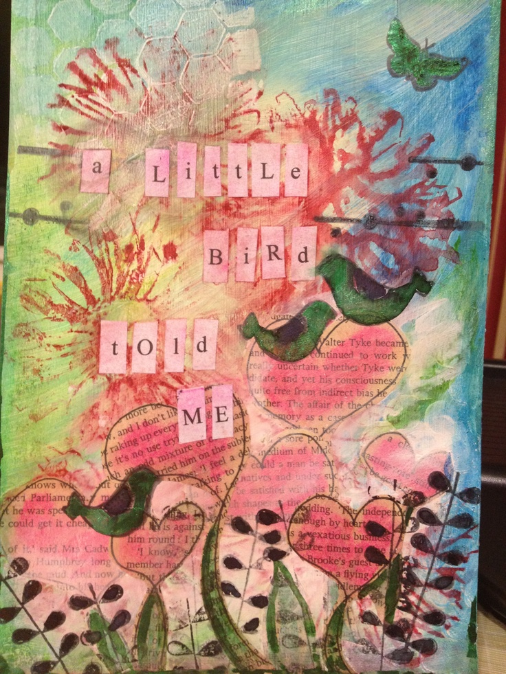 Mixed media journal page using gesso, masks, faber castell gelatos, stamps, lindys stamp gang magical micas
