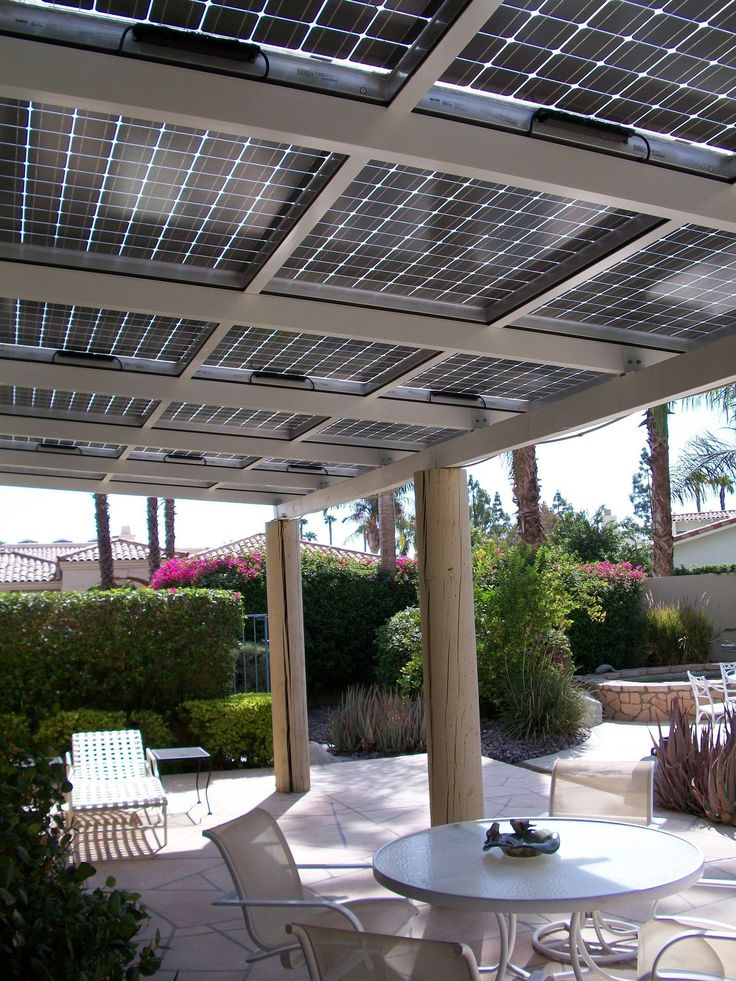 Use PV solar panels to shade a patio or a carport. This