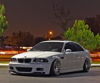 BMW E46 M3 white with massive deep dish rims