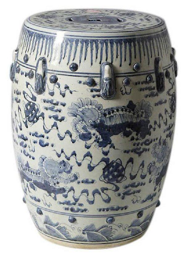 Lion Motif Garden Stool Blue White Shop Ceramic Stool