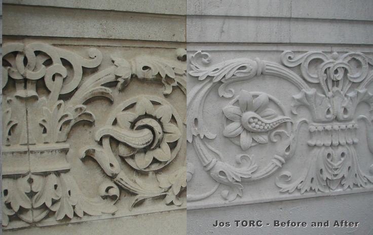 Before and after images showing Jos TORC clean of #Portland #mouldedfacade
