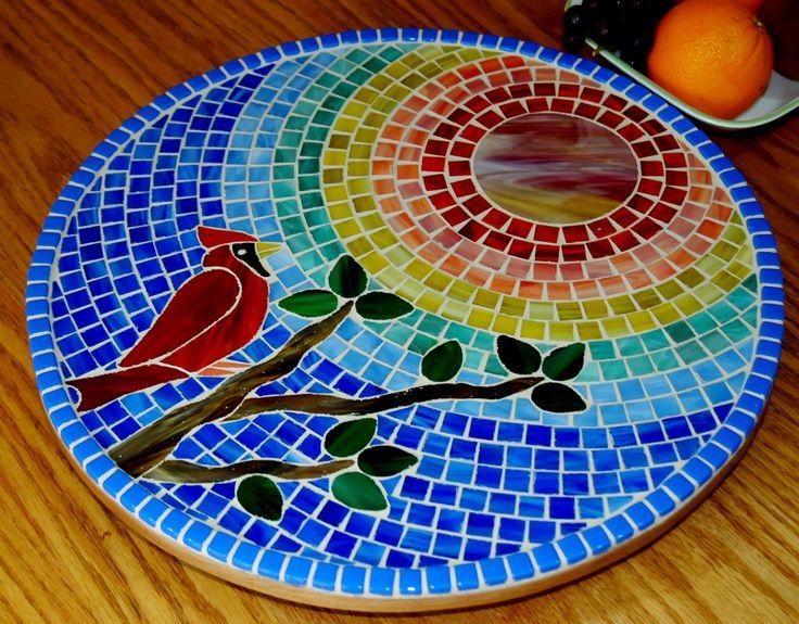 Lazy Susan Stained Glass Mosaic Cardinal by NatureUnderGlass, $85.00