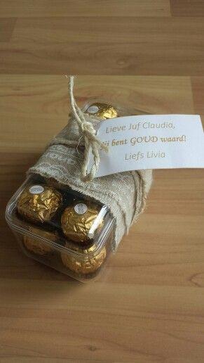 Juf meester is goud waard! Kijk ook voor gepersonaliseerde bedankjes op www.dewonderwerkplaats.nl