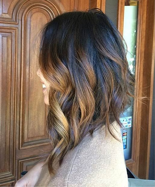 Inverted Long Bob + Balayage Highlights:
