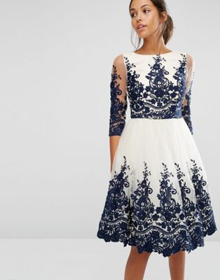 Chi Chi London | Chi Chi London Premium Lace Midi Dress with Scalloped Back and 3/4 Sleeve