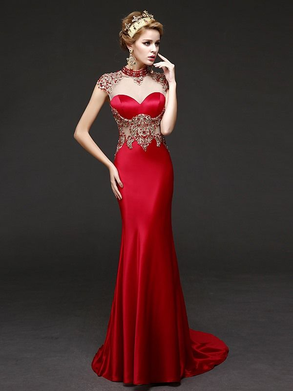 Mermaid High Neck Cap Sleeves Beading Crystal Sweep Train Evening Dress #EricdressReviews