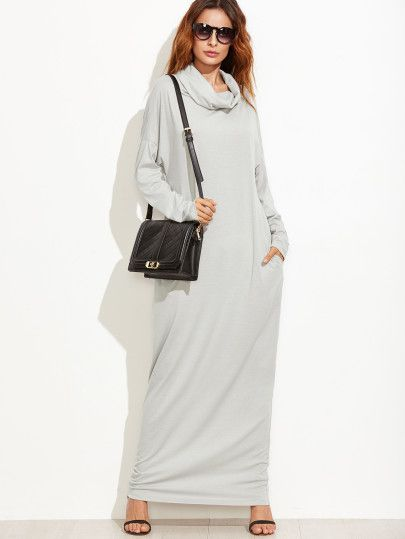 Grey Cowl Neck Drop Shoulder Maxi Dress