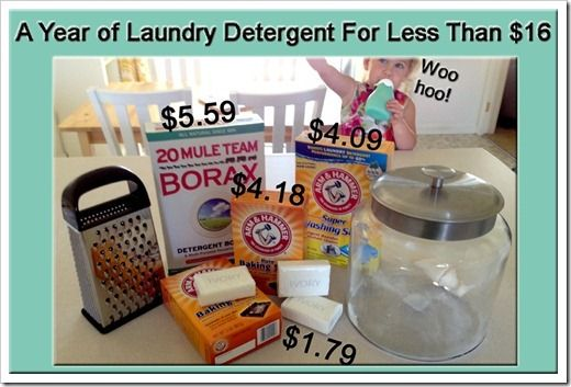 A Year's Worth of Laundry Detergent for Less than $16!! Her method uses ivory soap & lavender oil which makes it much milder for baby clothes & diapers