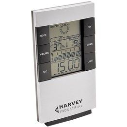 Be prepared for any weather with this sleek LCD weather station. Features include: forecast; temperature; calendar; clock; alarm; and backlight.