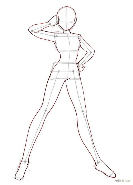 Female Character Standing Pose Reference Model. | Drawing - Design Reference Anime/Manga ...