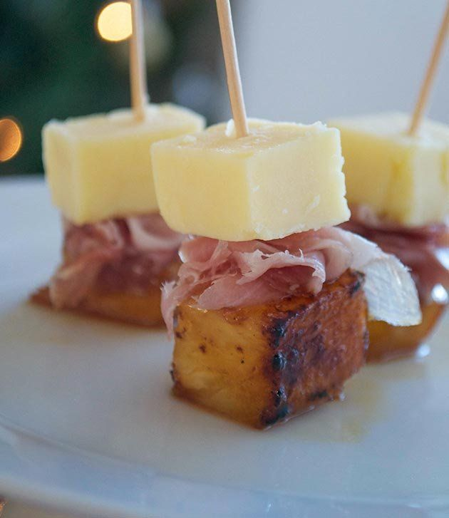 Christmas party food: Cheddar, ham and caramelised pineapple on sticks © Jo Romero