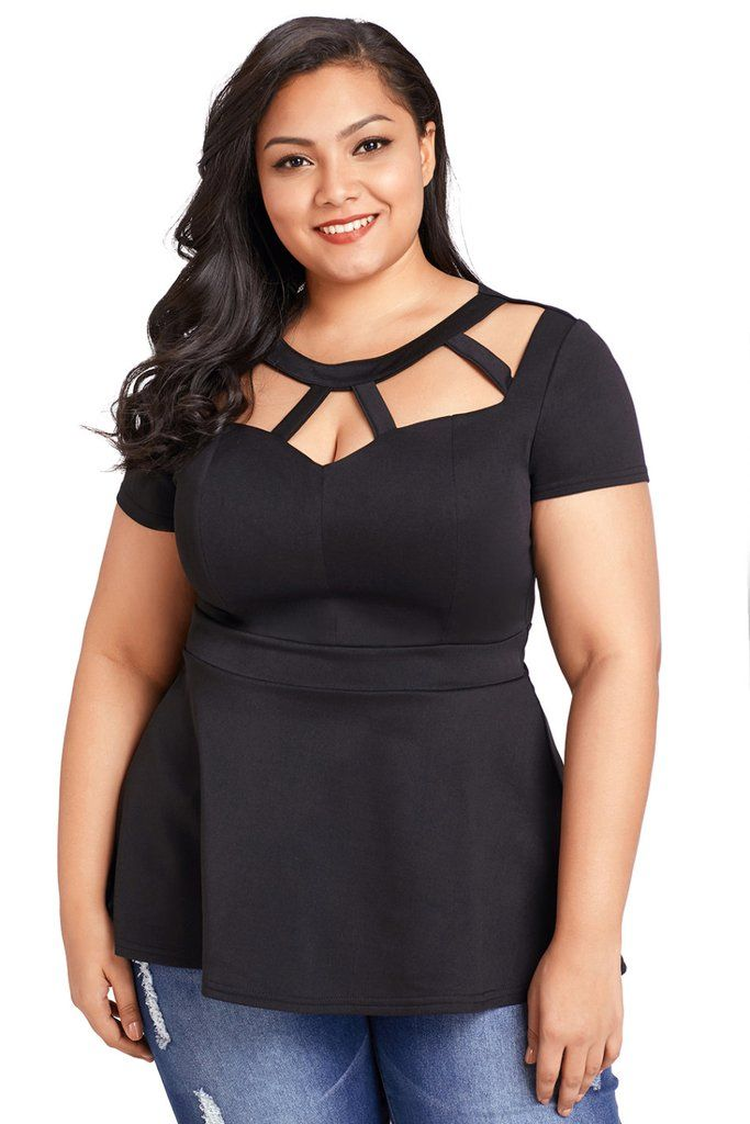 fcd923326 Plus Size Caged Top | Plus Size Tops | Black women fashion, Womens ...